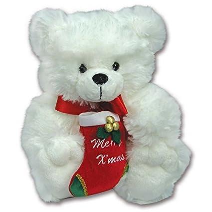 Christmas Bear.Amazon Com White 10 Plush Christmas Teddy Bear Holding