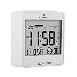 Marathon CL030054WH Atomic Humidex Clock with Calendar, Temperature, Heat & Comfort Index - Backlight, Snooze and Loud Alarm. Batteries Included. White Black, Blue and White