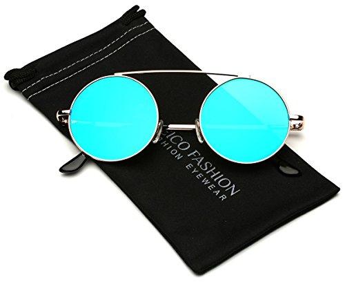 Bridgeless Circle Frame Flat Lens Fashion Sunglasses (M-L - Hipster Cheap Sunglasses