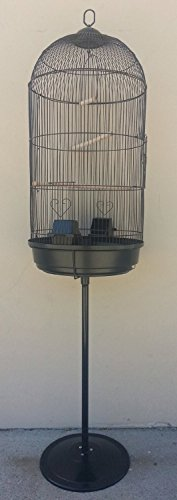 Large Round Dome Top Bird Cage For Finch Canary Cockatiel Parakeet With Stand Black by Mcage