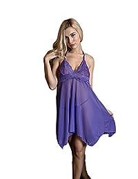 Blidece Women Lingerie Strap Semi-Sheer Babydoll Teddy Patchwork Nightwear plus size