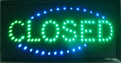 CHENXI Animated Bright Green Color LED Closed Sign Store Shop Bar Display Light Neon Indoor (48 X 25 CM, C) (Closed Neon Sign)