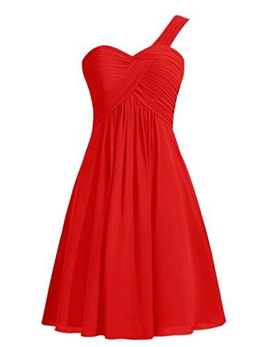 A Casa Una Vestiti D'onore Da Rossa 2016 Ritorno Spalla Damigella Brevi Chiffon Besswedding wqUfITf