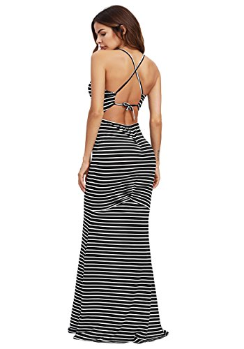 SheIn Women's Strappy Backless Summer Evening Party Maxi Dress Large Black -