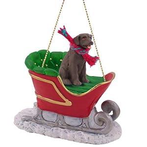 Amazon.com: Chocolate Labrador Retriever Lab Sleigh Christmas ...