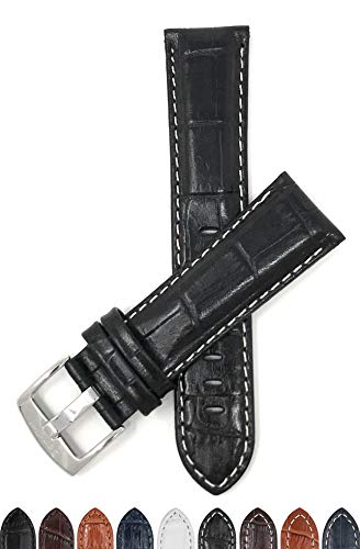 Bandini 28mm Mens Italian Leather Watch Band Strap - Black with White Stitch - Alligator Pattern