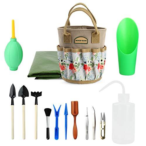 14 Pieces Succulent Tools Kit with Organizer Bag, Indoor Mini Garden Hand Tools Set with Carrier, Succulent Garden Tools…