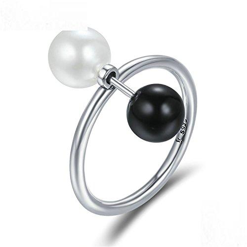 Baqijian Sterling Double Ball Finger Ring Punk Style Female Rings Women Sterling Jewelry Scr225