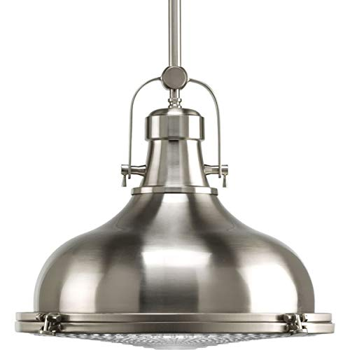 Brushed Collection Pendant Lamps Steel - Progress Lighting P5197-0930K9 Fresnel Lens Collection 1 - Light Brushed Nickel Integrated LED Mini Pendant with Fresnel Lens Glass, Brushed Nickel, 1