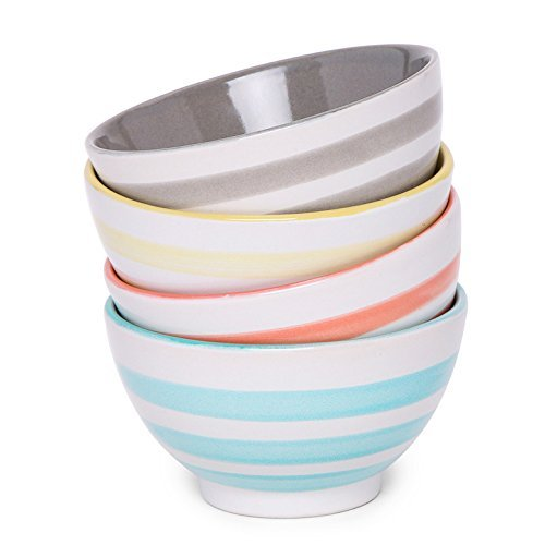 AllAsta Ceramic Striped Dip Bowls Multi-Colored Set of 4 - Aqua Cereal Bowl
