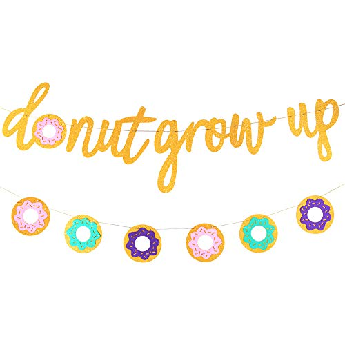 Up Themed Party (Glitter Donut Grow Up Banner Donut Grow Up Party Supplies Garland Kids Birthday Decorations Donut Grow Up Backgound String for Donut Themed Party,Birthday Party,Wall Decoration,Kids')