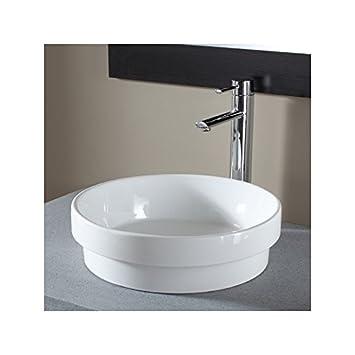 Vasque semi encastrée ronde blanche: Amazon.fr: Cuisine & Maison