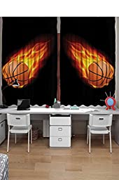 Sports Curtains 2 Panel Set by Ambesonne, Basketball Lover Ball on Fire Speed Fireball Shoot Hoops Kids Sporty Fun Art Print, Kids Bedroom Decor, 108X63 Inches, Black Orange
