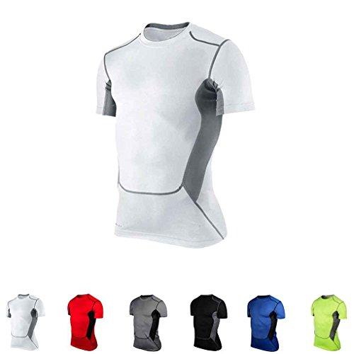 Pied Mengonee Cyclisme Manuelle Blanc Xl Rapide Coupe Chemise Football ¨¤ Pour Manches amp; Course Basketball Courtes Compression La Pfrcw17gqP