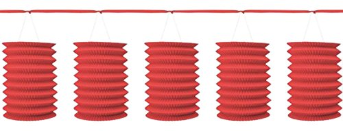 12' Paper Lanterns (Traditional Hanging Accordion Lanterns Party Decoration, Apple Red, Paper , 12', Pack of 8)