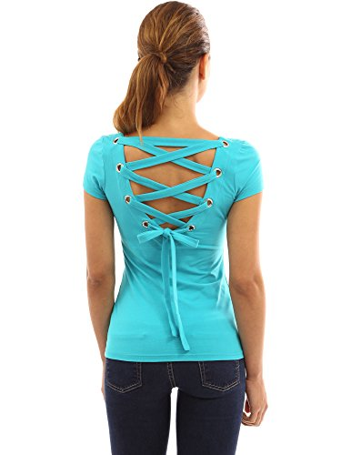 (PattyBoutik Women's Scoop Neck Lace Up Back Blouse (Turquoise XL))