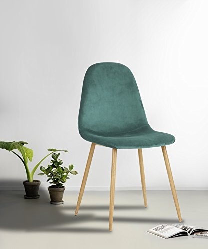 Set of 4 Mid-Century Style Side Chair Metal Legs Velvet Fabric Cushion Seat and Back for Dining Room Chairs in (Velvet Metal)