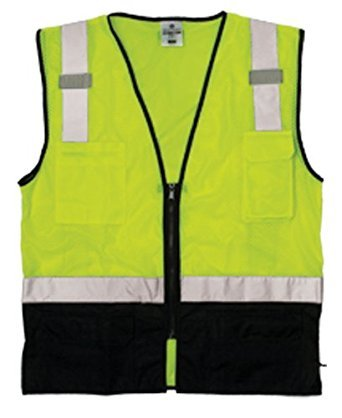 ML Kishigo 1509-L-XL Black Bottom Mesh Vest - Economy Lime L-XL ()