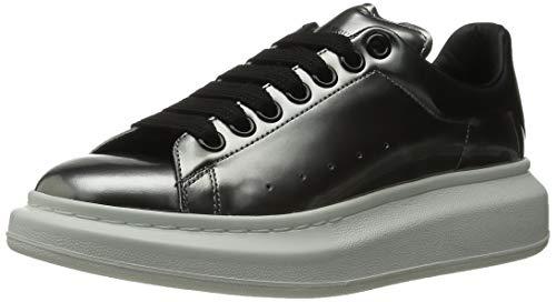 Alexander McQueen Sneaker Pelle S.Gomma, Silver/Black 38 (US Women's 8) B - Medium