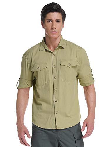 Khaki Shirts Military (Mens Military Style Long Sleeve Button Down Shirts Cargo Work Shirt Khaki L)