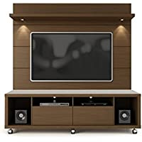 Manhattan Comfort Cabrini 60 TV Stand & Floating Wall TV Panel 1.8, Nut Brown, 71Lx17.5Wx73H