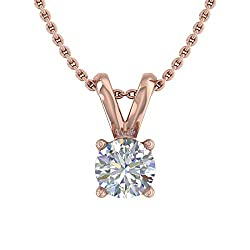 Gold Diamond Solitaire Pendant with Silver Chain