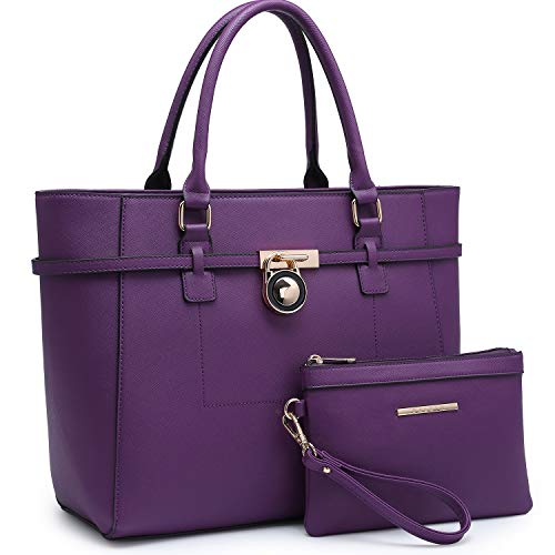Large Top Handle Satchel Women Handbag Ladies Designer Purse Set Faux Leather ()