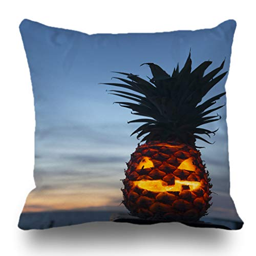 Batmerry Halloween/Thanksgiving Theme Decorative Pillow Covers 18 x 18 inch,Tropical Halloween Lantern Pineapple Beach Pumpkin Scary Fruit Carved Throw Pillows Covers Sofa Cushion Cover Pillowcase