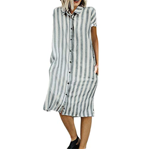 ☀️EDC 2019 Summer Women's Basic Stripe Printed Dresses Casual Loose Short Sleeve Mini Party Shirt Long Dress with Pocket (Green, S)