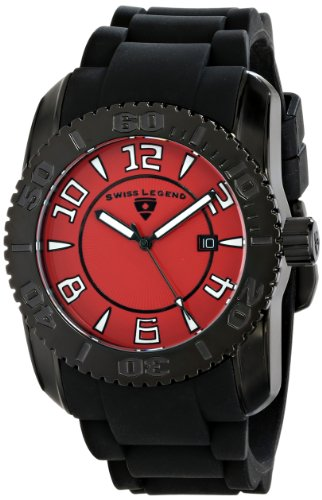 Swiss Legend Men's 20068-BB-05 Commander Collection Black Ion-Plated Red Dial Watch