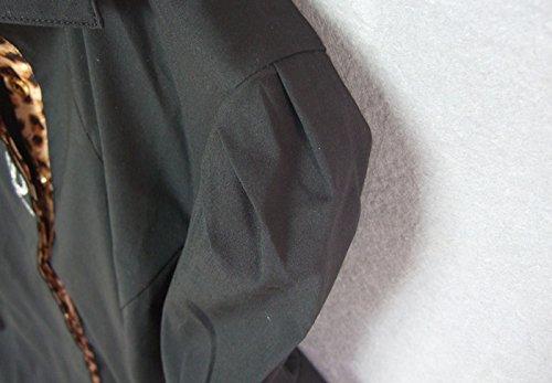 ZAMME Delgado OL de las mujeres del mono remata la blusa con botones camisas clásicas Negro A