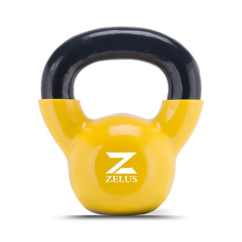 ZELUS Cast Iron Vinyl Coated Kettlebell for Women/Men Workout (8)