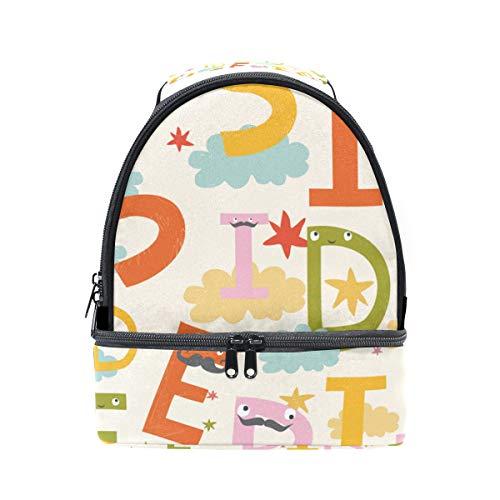 à lettres réglable lunch Folpply isotherme de Sac Boîte avec Cute pour l'école Cooler à Tote Pincnic les l'alphabet bandoulière Y0x6Enqp6w