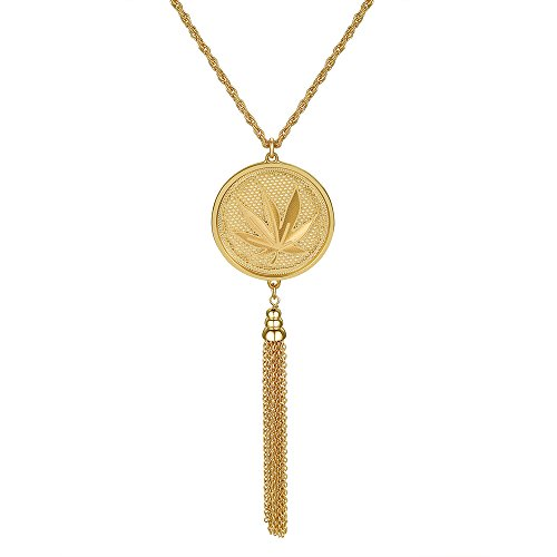 USA Annabel Tassel Long Chain Pendant Necklace - Maple Leaf Pattern Celtic Knot Long Sweater Necklace for Women, Best Gift for Valentine's Day