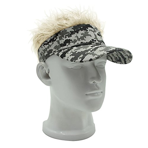 Blonde Baseball - MerryJuly Adjustable Visor Cap with Fake Hair Wig Novelty Baseball Cap Sun Hat (Camouflage Visor with Blond Hair)