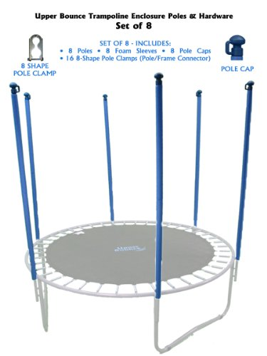 Trampoline Replacement Enclosure Poles & Hardware, Set of 8 (Net Sold Separately) by Upper Bounce (Image #1)