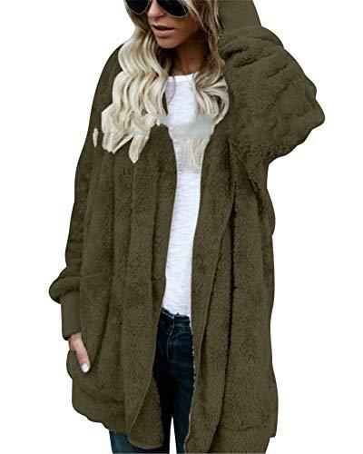 Cerniera Elegante Giacca Donna In Peluche Inverno Stile Cappotti Green Modo Army Strada Di 0qSw6q4E