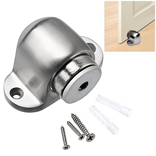 Sumnacon Powerful Magnetic Door Stopper Catch, 1 Pcs Stainless Steel Doorstop With Hardware Screws, Sturdy Floor Mount Door Holder for Home Office Commercial Industrial, Brushed Finish