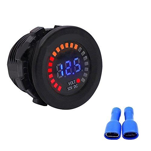 Funwill 12V Color LED DC Digital Display Voltmeter Panel Waterproof Tester Volt Gauge for Car Motorcycle Truck Boat Marine by Funwill