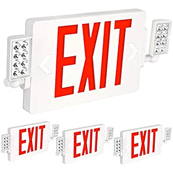 Hykolity Ultra Slim Red Exit Sign, 120-277V Double Face LED Combo Emergency Light with Adjustable Two Head and Backup Battery - 4 Pack