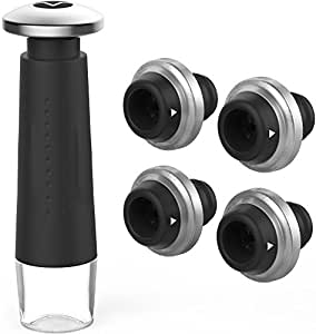 Vremi Wine Preserver - Wine Pump with 4 Wine Vacuum Stoppers - Wine Saver Vacuum Pump and Rubber Wine Stopper Set with Date Markers to Remove Air and Vacuum Seal Open Wine Bottle for 7-10 Days