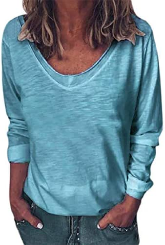 Sleeve V Neck Pullover Blouses Relaxed Fit product image