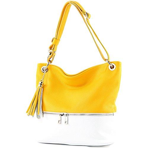 modamoda de -. ital sac en cuir dames sac d'épaule épaule T143 sac en cuir Gelb/Weiß