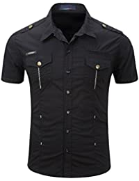 Mens Classic Short Sleeve Casual Shirt ,Uniquetotop Army Style Formal Shirts Regular Fit