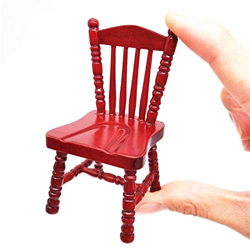EatingBiting(R) 1:12 Handmade Dollhouse Miniature Furniture Single Chair Delicate Wooden Chair Noble red Dining Chair