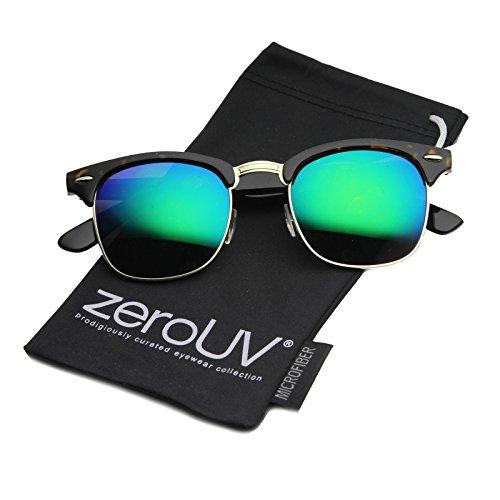 Half Frame Semi-Rimless Horn Rimmed Sunglasses (Tortoise-Gold/Green-Blue Mirror)