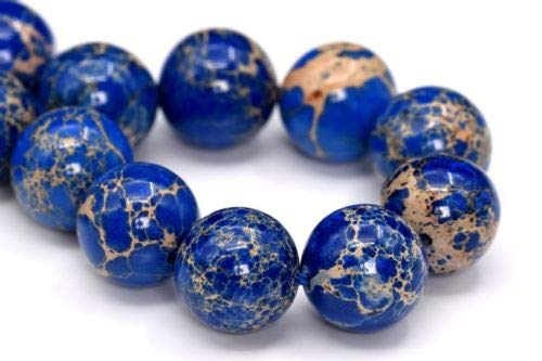 Necklace Jasper Pendant Beads (12mm Natural Ocean Blue Sea Sediment Imperial Jasper Beads Round Beads 7.5'' Crafting Key Chain Bracelet Necklace Jewelry Accessories Pendants)
