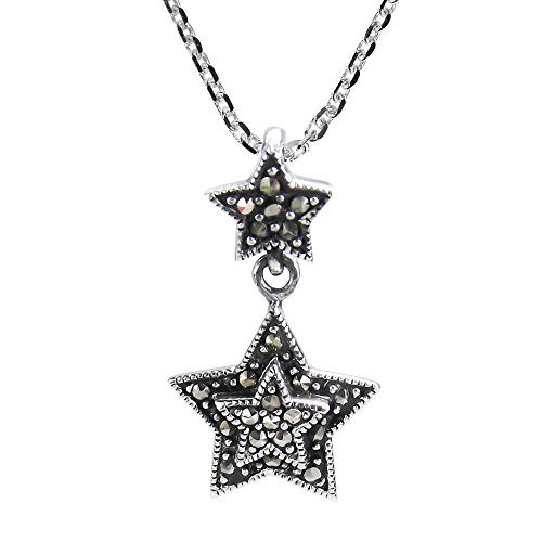 Trendy Double Stars with Marcasite Style Pyrite .925 Sterling Silver Pendant Necklace (Pendant Angelic Star)