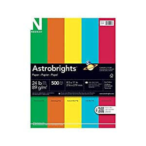Neenah Astrobrights Premium Color Paper Assortment, 24 lb, 8.5 x 11 Inches, 500 Sheets, Eco Colors