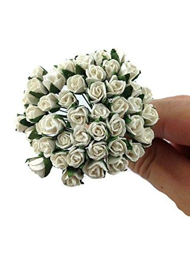 1 Bundle of 50pc Miniature White Artificial Flowers Paper Rose Flower Wedding Card Embellishment Scrapbook Craft